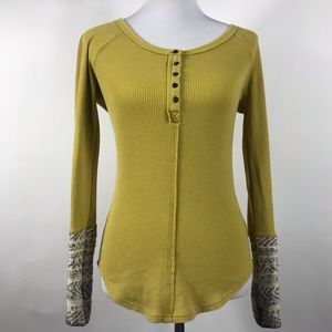 Free People Newbie Ski Cuff Thermal Henley Small